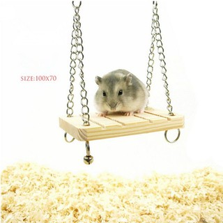 Wooden Swing Mouse Rat Parrot Hamster Bell Suspension Poppled Hanging Cage Toys