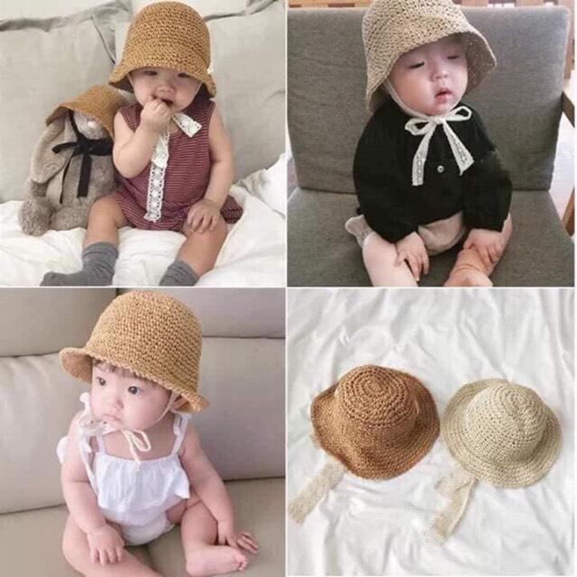 [Mũ Ajuma cho bé] Mũ cho bé gái từ 6 tháng đến 3 tuổi - Mũ cói dễ thương cho mùa hè - Mũ và Phụ kiện handmade cho bé