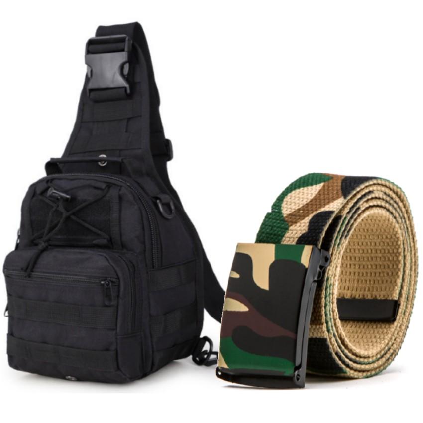 Thắt lưng dù chiến thuật và túi đeo ngực thời trang phong cách Quân đội Mỹ tặng móc khóa da thật cao
