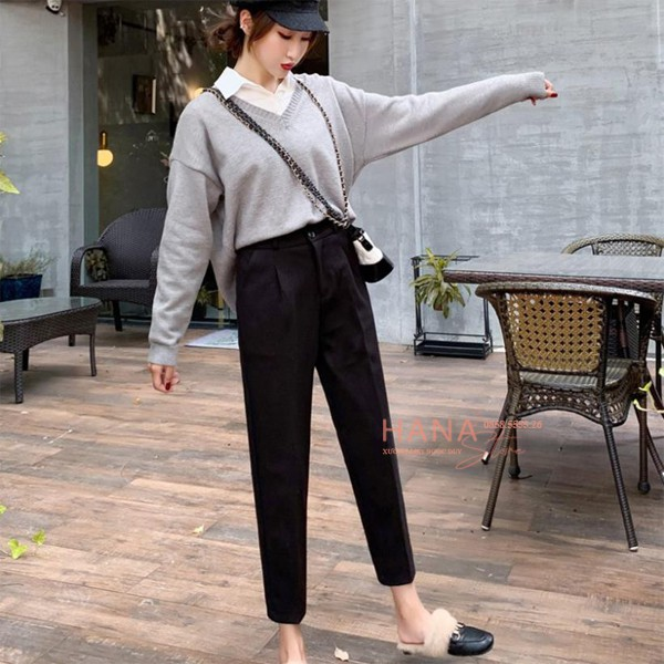 Mặc gì đẹp: Sang trọng với Quần tây baggy nữ đi học cạp lưng cao vải màu đen dáng dài ống thẳng đứng cho học sinh - Mặc đi học đi làm công sở xinh