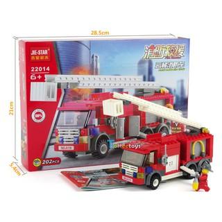 Bộ lắp ghép xe ô tô cứu hỏa có thang chữa cháy – 202 pcs