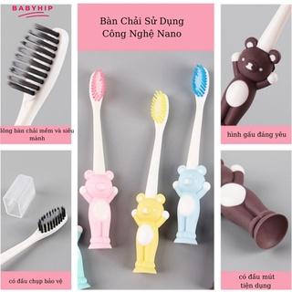 Set 2 bàn chải đánh răng cho bé , hình gấu có mút chân dễ dàng cắm ở bất cứ đâu bé thích-BABYHIP thumbnail