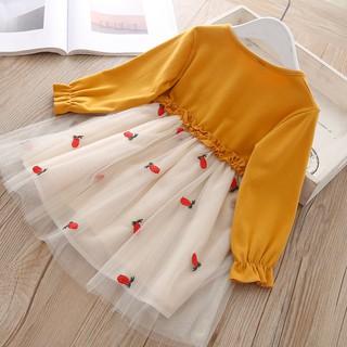 Váy bé gái Voan cho bé gái thêu quả râu tây, Váy bé gái voan Trắng bé gái nhiều tầng M 10