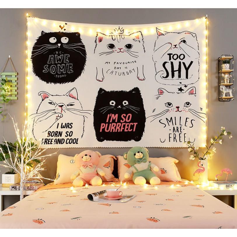 [Giảm giá sốc] Thảm trang trí - Tranh treo tường hình 6 chú mèo cute có Tặng kèm đèn nháy và móc treo siêu hời
