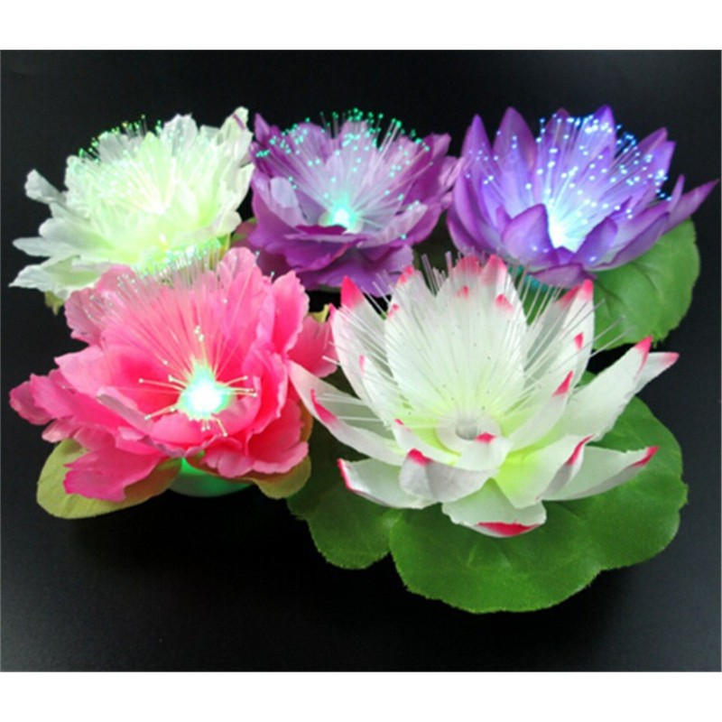 LED Flash Fiber Lotus Flower Night Light Decoration Luminous Kids Gift Toy