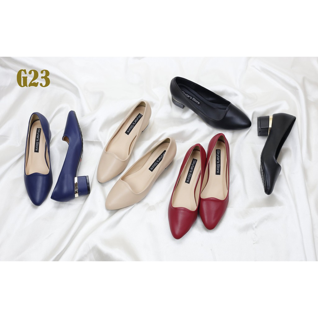 Giày Cao Gót 3cm Viền Mạ Vàng G23