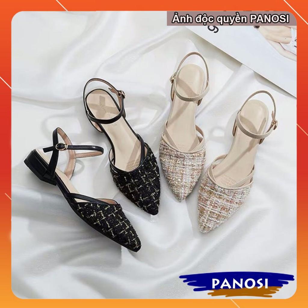 Giày xăng đan nữ chất dạ gót 3cm quai hậu phong cách hàn quốc