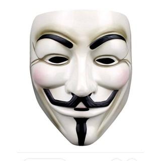Mặt nạ Hacker Anonymous hóa trang màu trắng chất liệu an toàn phù hợp nhiều lứa tuổi thumbnail