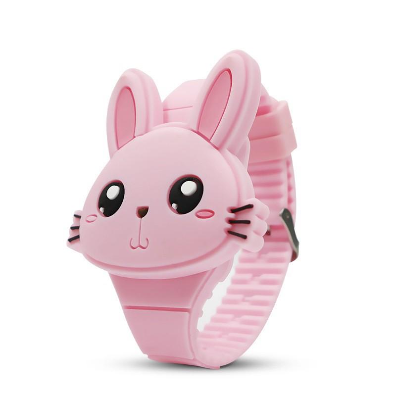 Đồng hồ thời trang trẻ em dây cao su cao cấp mặt thỏ xinh sắc màu OEM PKHRTE012