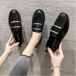 Giày Oxford Da Nữ Đen Bóng - Đen Mờ Thời Trang 2021 - T19 thumbnail