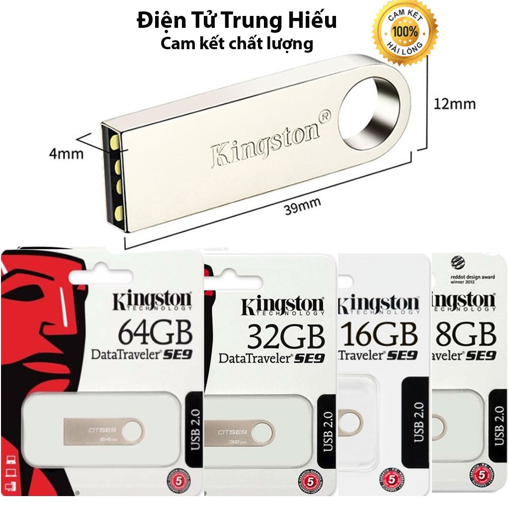 USB 32gb/64gb/16gb/8gb/4gb/2gb Kingston SE9 2.0 thiết kế nhỏ gọn, vỏ kim loại chống nước