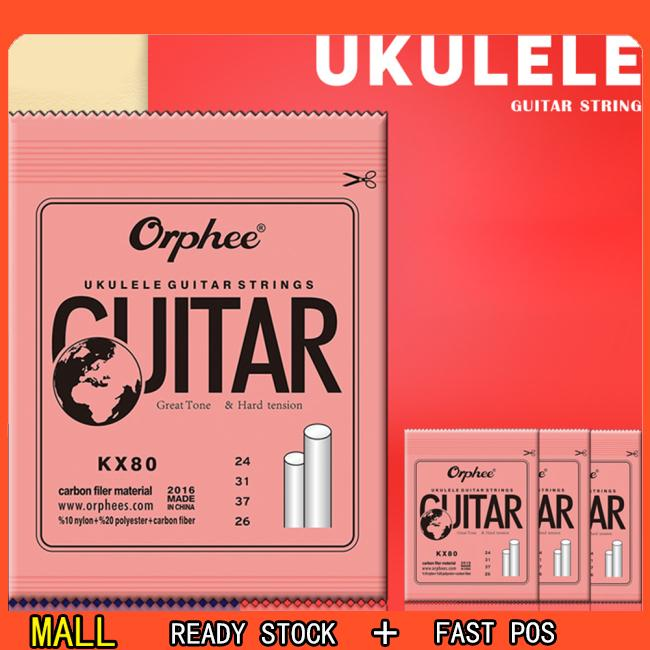 Orphee KX 4pcs Professional Clear Nylon Carbon Fiber Ukulele Strings Hawaii Guitar for Ukulele