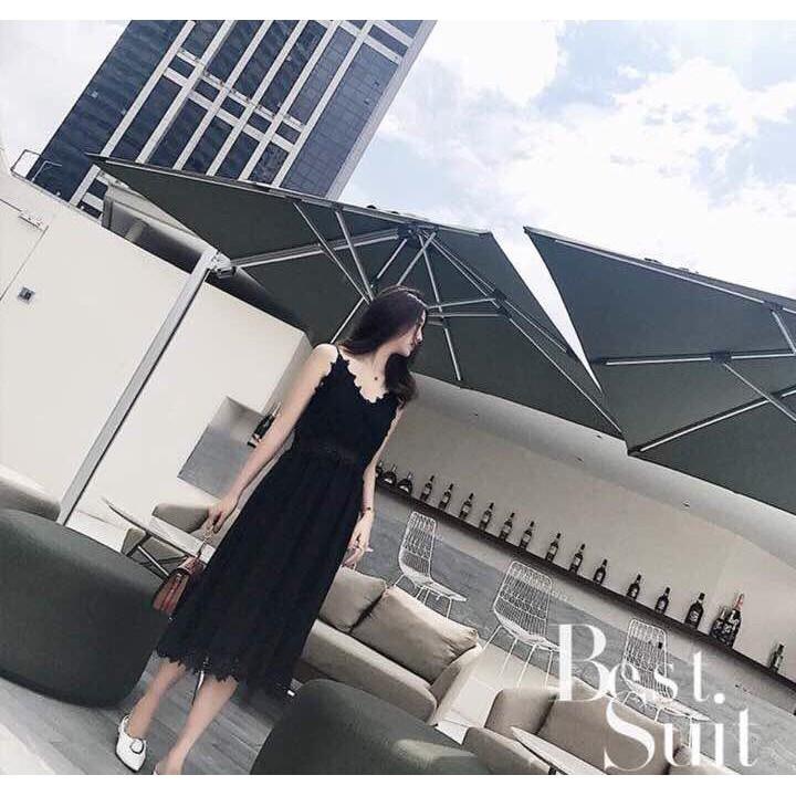 Đầm Xòe Maxi Hai Dây Phối Ren Đủ Màu