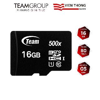 Thẻ nhớ micro SDHC Team 16GB upto 80MB/s 500x (Đen) - Hãng phân phối chính thức