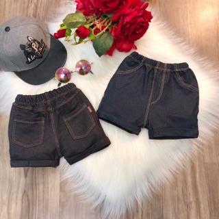 Quần sooc đùi giả jeans mềm 8-20kg (màu đen/xanh than)