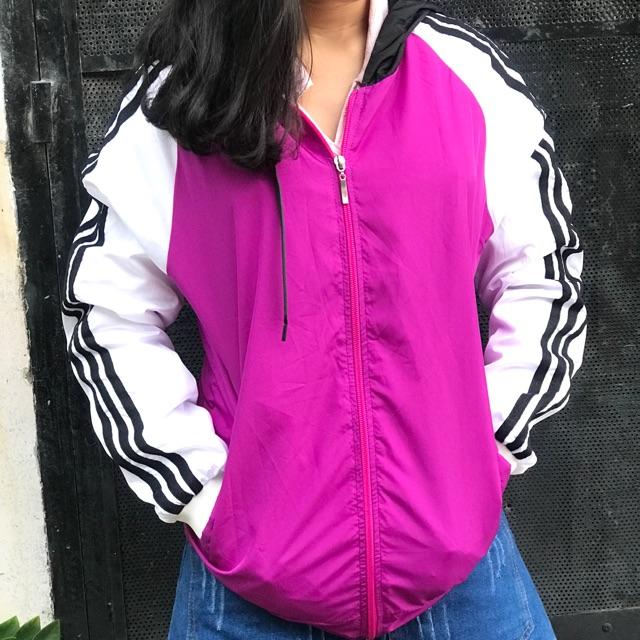 Áo khoác sọc phối màu hồng