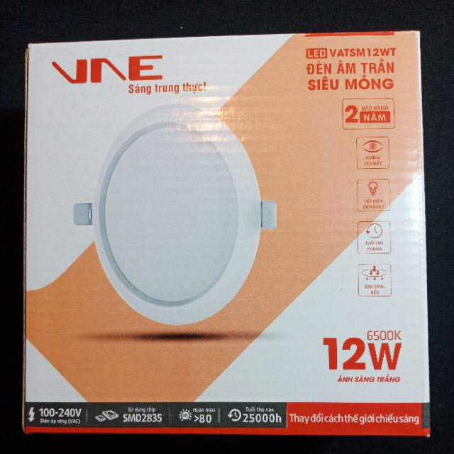 [ bán sỉ] Led âm trần siêu mỏng 12W VNE khoét lỗ Φ110