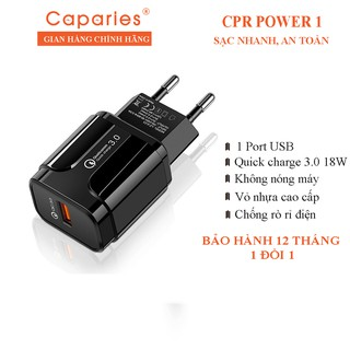 Cốc Sạc CAPARIES CPR POWER 1 – 1 Cổng USB 18W Quick Charge 3.0 – CPRPOWER1