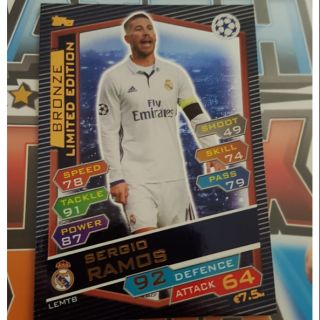 Ramos Bronze limited edition Topps match attax UCL 2017 ( thẻ cầu thủ )