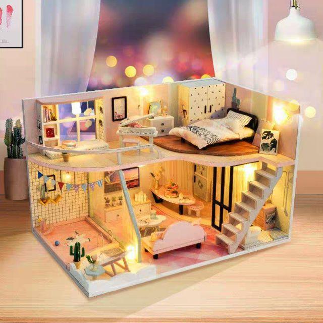 Kèm Mica và keo dán – Mô hình nhà gỗ búp bê Dollhouse DIY – TD30 A Pink Memory Time
