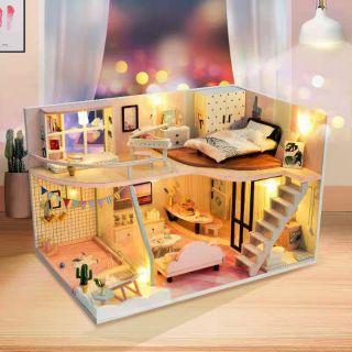 Kèm Mica – Mô hình nhà gỗ búp bê Dollhouse DIY – TD30 A Pink Memory Time