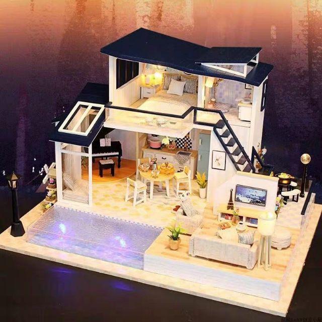 Mô hình nhà gỗ búp bê Dollhouse DIY – Kèm mica – 13849 Mermaid Tribe