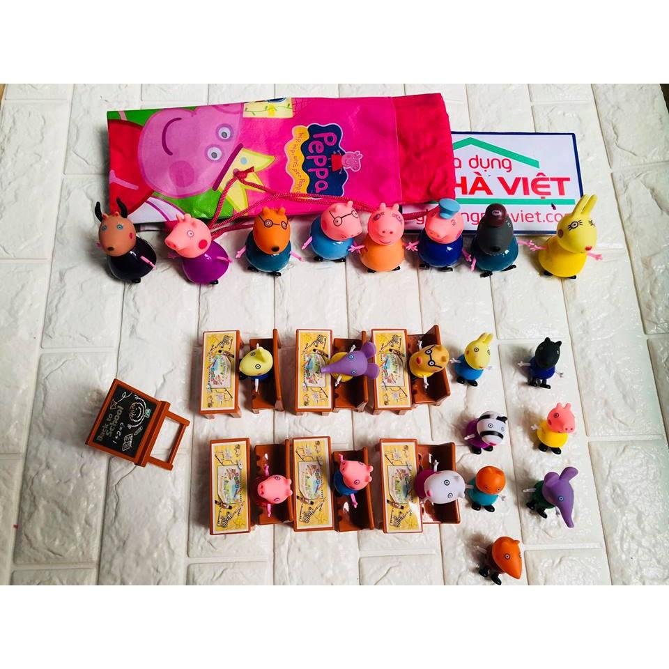 Bộ đồ chơi Peppa Pig lớp học 21 nhân vật kèm bàn ghế, bảng, túi xách