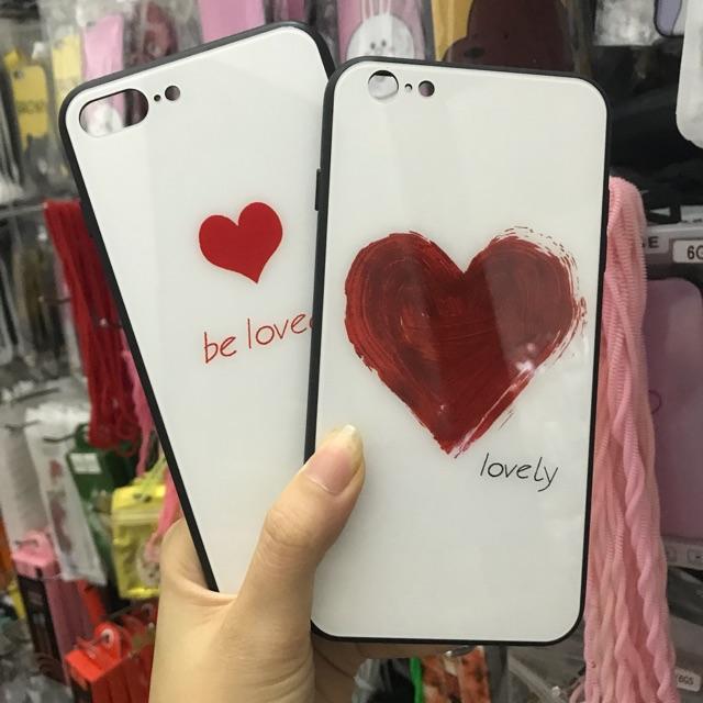 ỐP TIM KÍNH CAO CẤP CHỐNG XƯỚC LOVELY CHO IPHONE 6 6s 6plus 7 7plus 8 8plus X