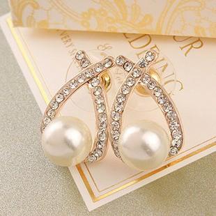 Khuyên tai ngọc trai đính ngọc - có đủ màu bạc lẫn vàng