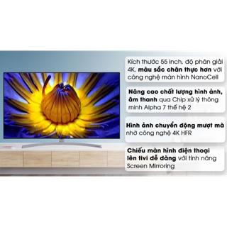 Smart tivi NanoCell LG 4K 55 inch 55SK8500PTA( HÀNG NEW NGUYÊN SIÊU BẢO HÀNH CHÍNH HÃNG 2 NĂM)