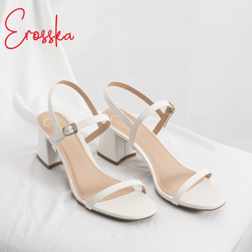 Hình ảnh Giày Sandal Nữ Thời Trang Erosska 5cm Mũi Vuông - EM019 - Màu Nude-0