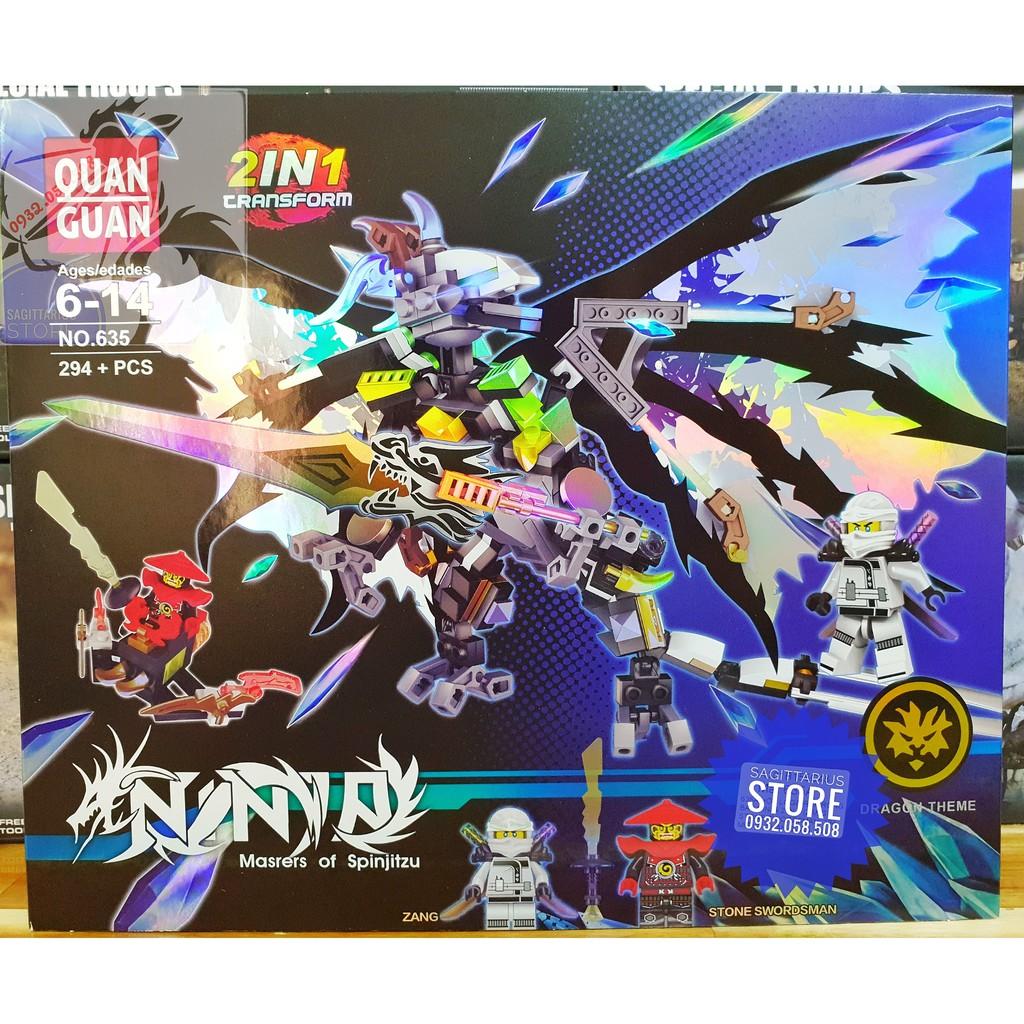 Lego Quan Guan 635 Lắp Ráp Robot Rồng Bay NinjaGo 2 in 1 ( Bạc – 294 Mảnh )
