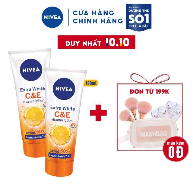 Bộ đôi sữa dưỡng thể dưỡng trắng Nivea Extra White C&E Vitamin Lotion 180ml/chai