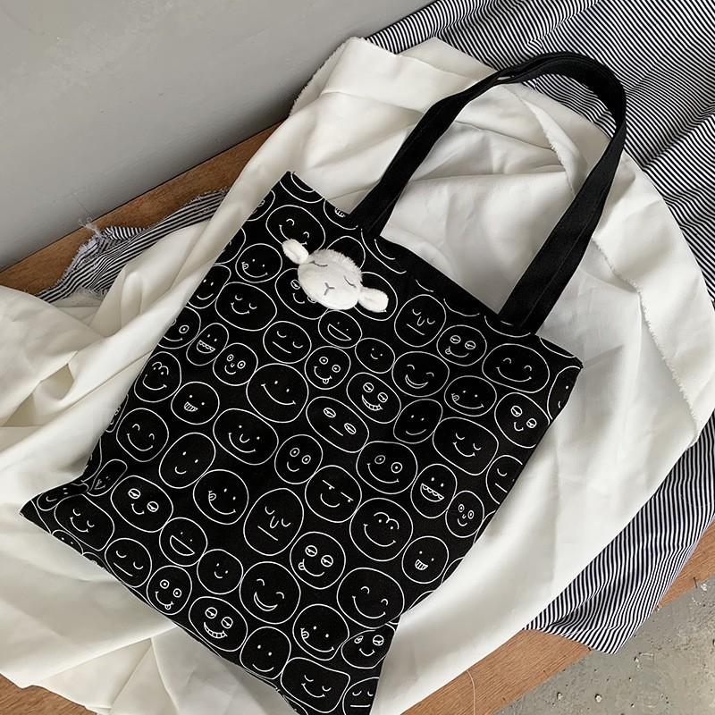 Túi đeo vải bằng vải họa tiết hoạt hình phong cách Nhật Bản thời trang 2020 dành cho nữ