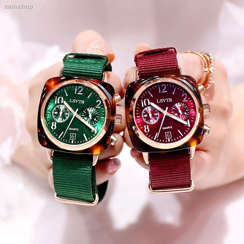 【นาฬิกา】✖™﹍2019 zhou to watch her red couples fashion waterproof canvas big dial quartz