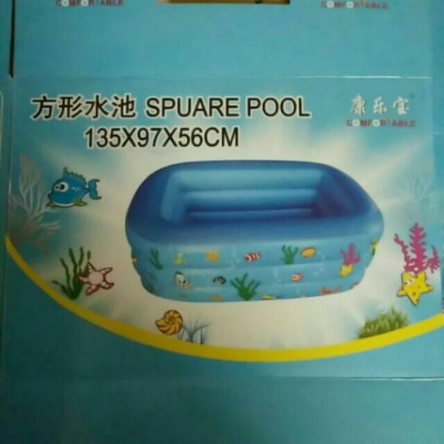 Bể bơi phao HCN 3 tầng đáy êm 135*97*56cm