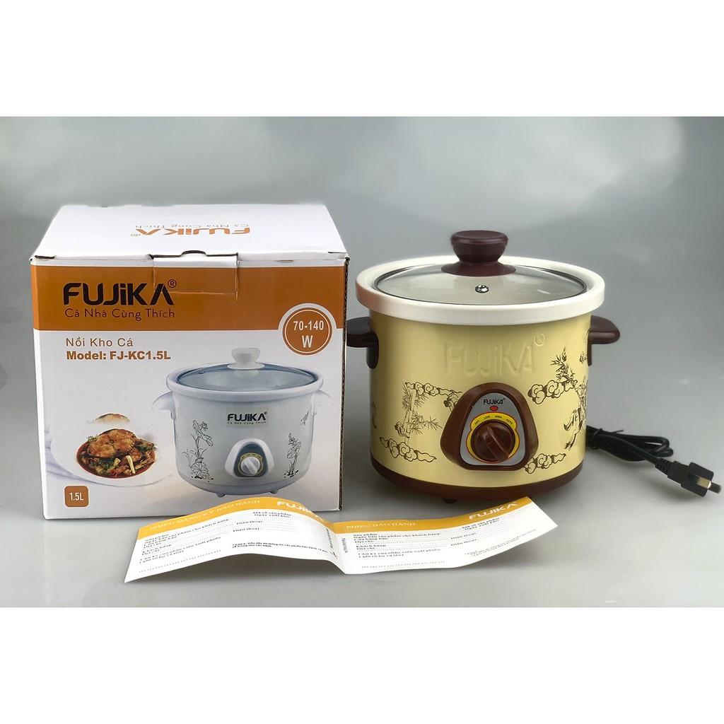 Nồi nấu chậm Fujika FJ-KC15 dùng để hầm cháo em bé, chưng yến, kho cá giữ được hương vị của thức ăn, bảo hành 12T