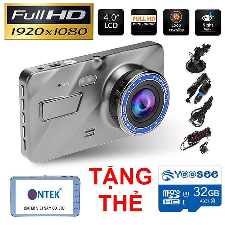 [TẶNG THẺ 32G] Camera hành trình ONTEK A10 FullHD Tiếng Việt 2 CAM ghi hình trước sau