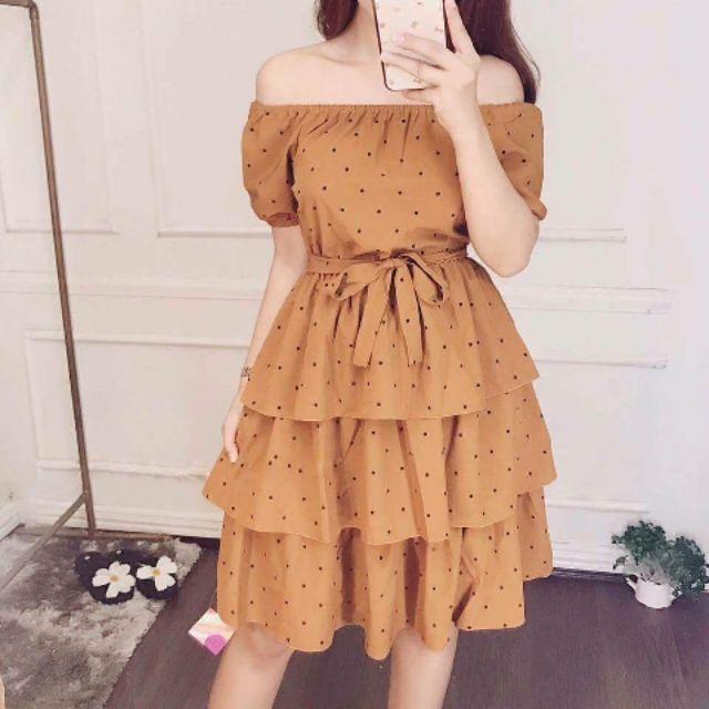 Đầm bi tầng trễ vai (kèm hình thật)
