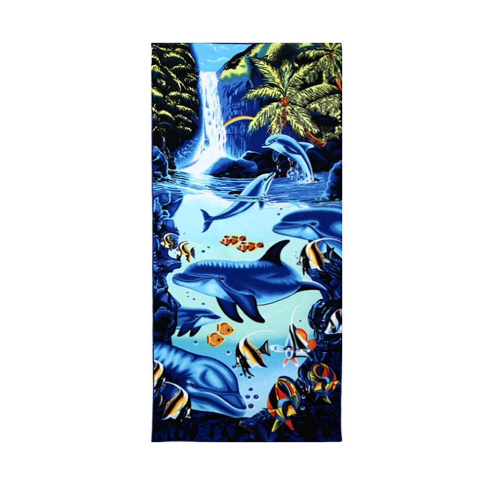 Khăn tắm vải đa năng in hình cá heo 70 * 150cm