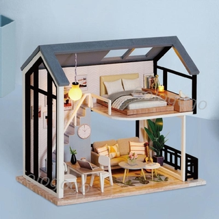 COLO DIY Tools Architecture Model Building Kits Dollhouse with Furniture LED Miniature Wooden