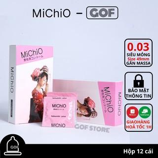 Bao cao su gân mỏng Michio size nhỏ ôm khít Nhật Bản Hộp 12C GoF thumbnail