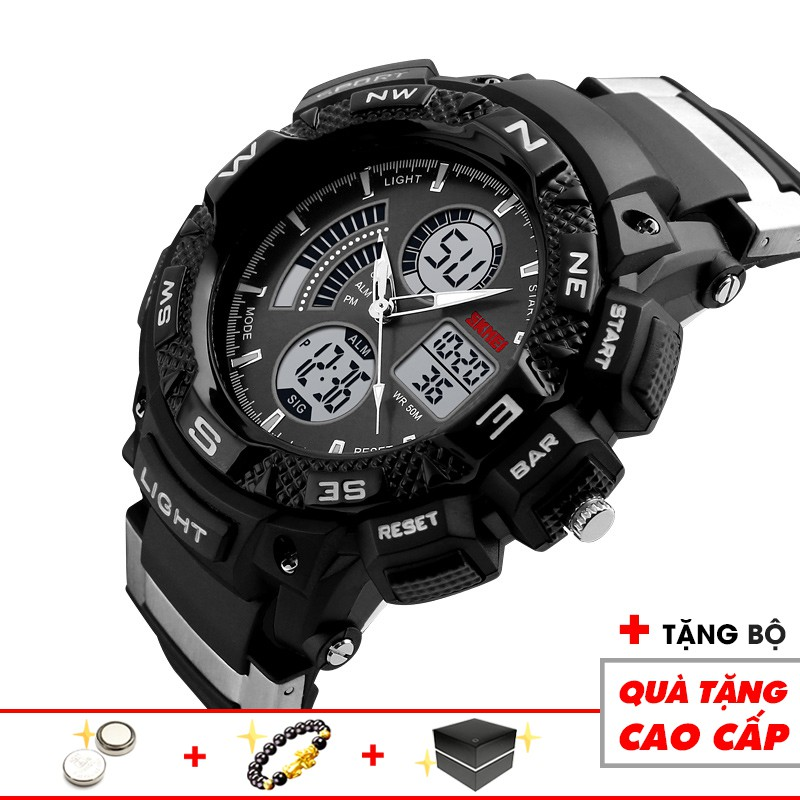 Đồng hồ điện tử nam thể thao SKMEI SKM211 cao cấp chống nước, chống xước 3 kim 3 màn hình thời trang