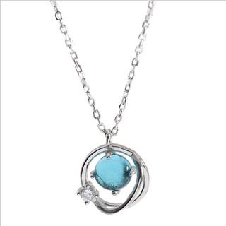 Dây Chuyền Bạc 925 Hình Quả Cầu Đính Đá Màu Xanh Cho Nữ - DB2365 - Bảo Ngọc Jewelry