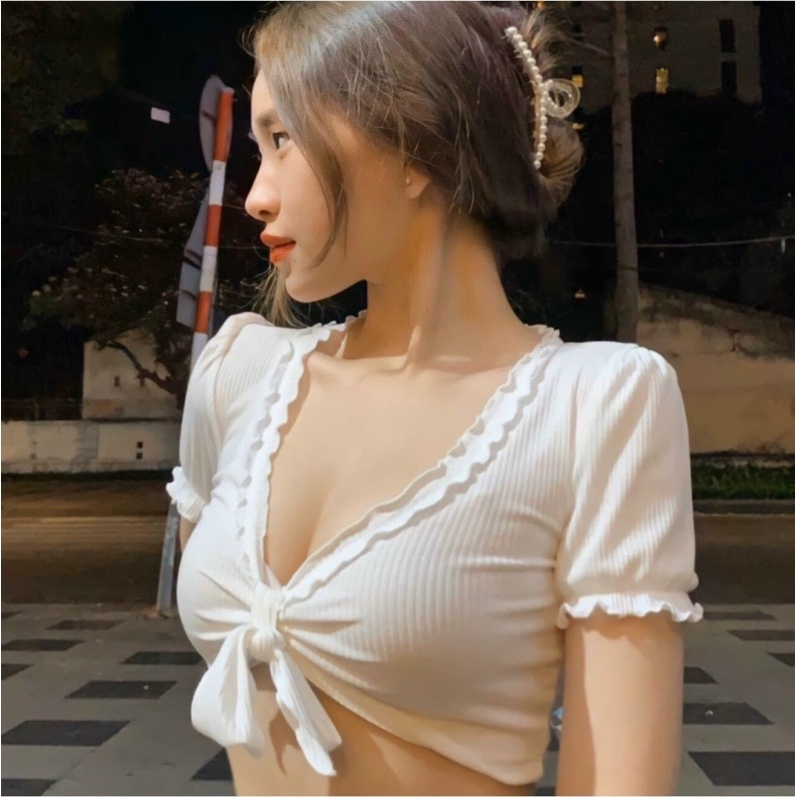 Mặc gì đẹp: Gợi cảm với Áo Croptop cột nơ ngực cuốn biên buộc nơ trước - Z7N