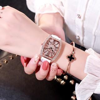 (Giá sỉ) Đồng hồ thời trang nữ DZG dây da mặt đính đá siêu đẹp