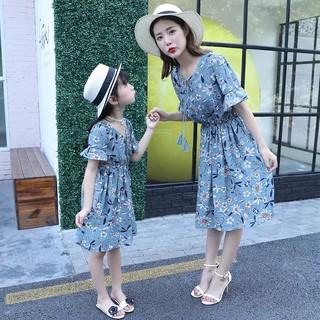 Váy mẹ bé gái hình hoa [13-52kg]