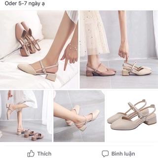 Giày gót vuông cao 4cm size 32-40 (oder 5-7 ngày)