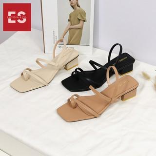 Hình ảnh Sandal nữ xỏ ngón dây mảnh thời trang Erosska cao 5cm màu kem_EB024-5