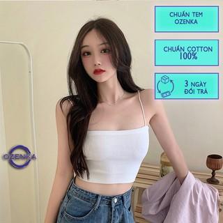 Áo 2 dây sợi bún thun gân đẹp 100% cotton đen trắng , áo croptop ôm mặc trong siêu mát DA099